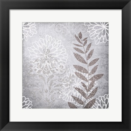 Framed Warm Grey Flowers 6 Print