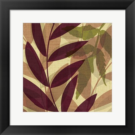 Framed Purpple Yellow Leaves Mate Print