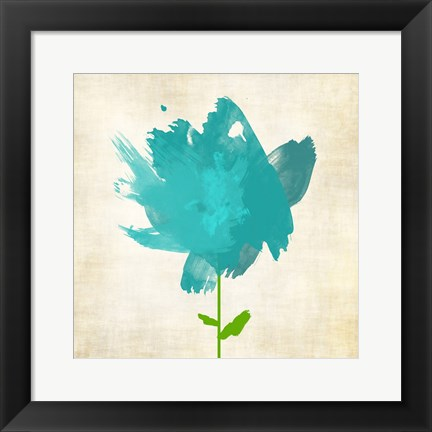Framed Brush Stroke Flowers Blue Print