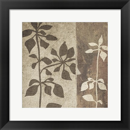 Framed Neutral Leaves 1 Print