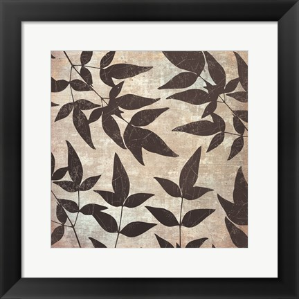 Framed Leaves And Swirls Print