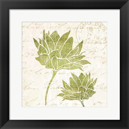 Framed Hand Writing Flower 1 Print