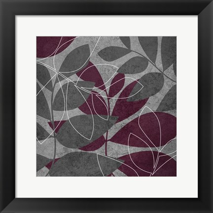Framed Grey Purple Leaves 1 Print