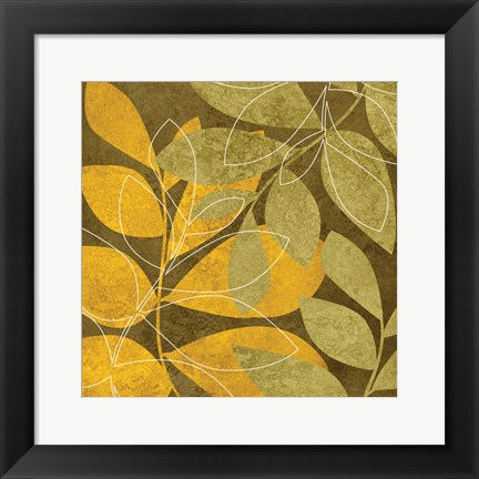 Framed Yellow Brown Leaves 2 Print