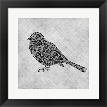 Framed Brocade Bird 1 Print