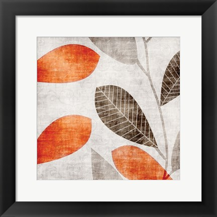 Framed Gray Orange Leaves 1 Print