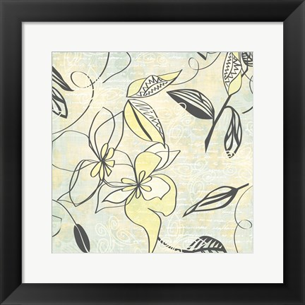 Framed Yellow Writing On Flower Print
