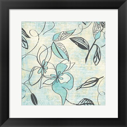 Framed Aqua Writing On Flower Print