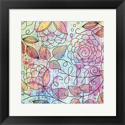 Framed Shabby Floral A Bright Print