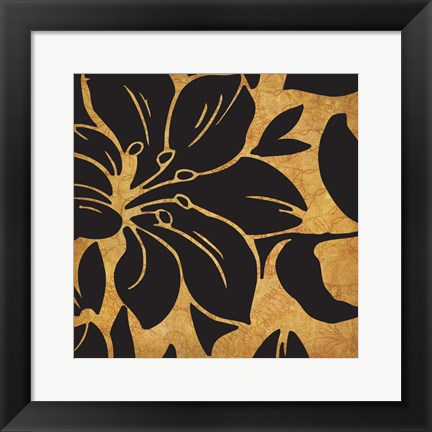 Framed Black and Gold Flora 1 Print