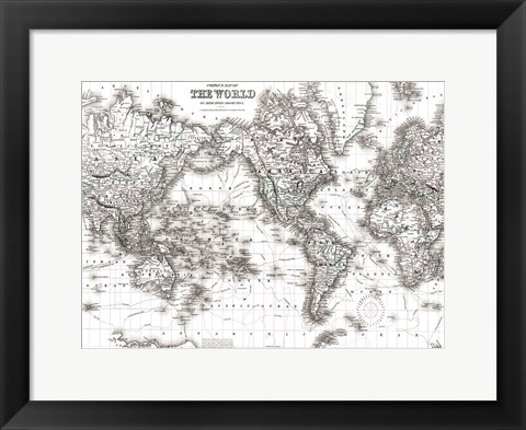 Framed World Map White Print