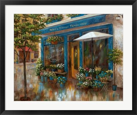 Framed Anna's Corner Flower Shop Print