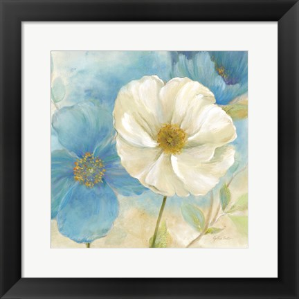 Framed Watercolor Poppies I (Blue/White) Print