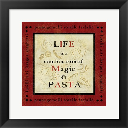 Framed Pasta Sayings I Print