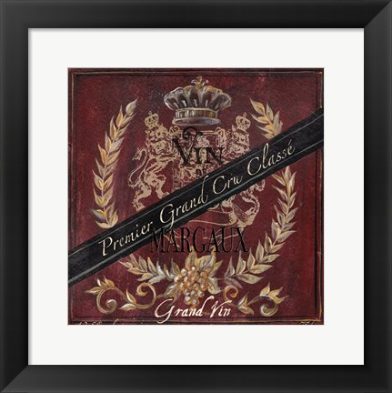 Framed Grand Vin Wine Label IV Print