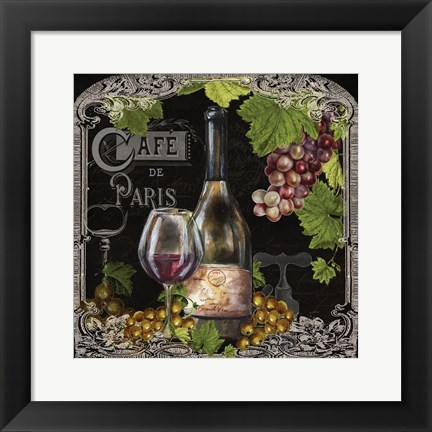 Framed Cafe de Vins Wine II Print