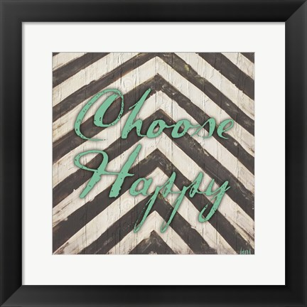 Framed Chevron Sentiments Teal II Print