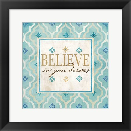 Framed Blue Geo Sentiments I Print
