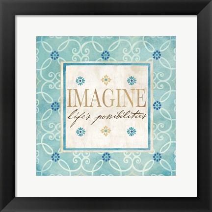 Framed Blue Geo Sentiments II Print