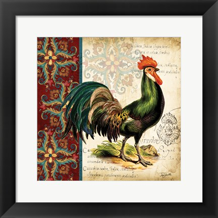 Framed Suzani Rooster I Print