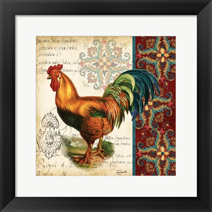 Framed Suzani Rooster II Print