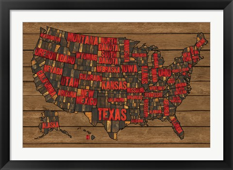 Framed Printers Block US Map Red Print
