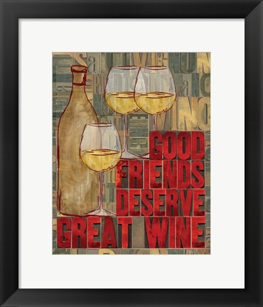 Framed Printers Block Wine and Friends I Print