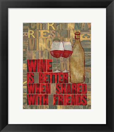 Framed Printers Block Wine and Friends II Print
