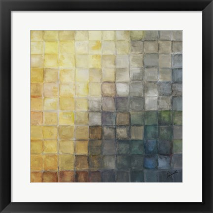 Framed Yellow Gray Mosaics II Print