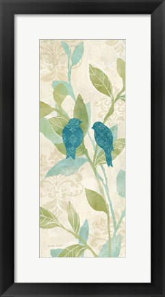 Framed Love Bird Patterns Turquoise Panel II Print