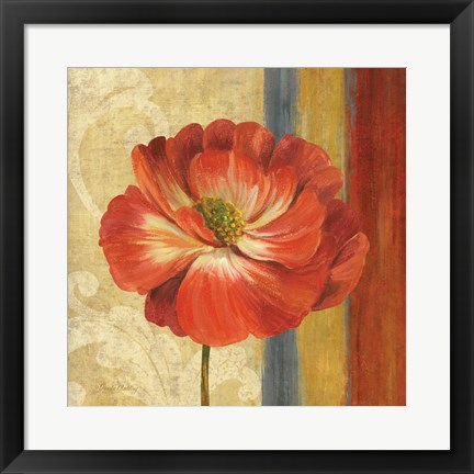Framed Poppy Tapestry Stripes II Print