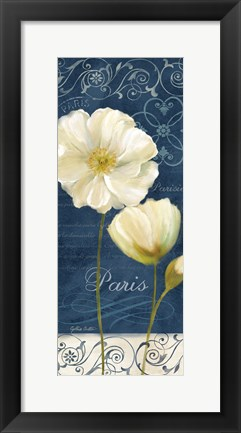 Framed Paris Poppies Navy Blue Panel I Print