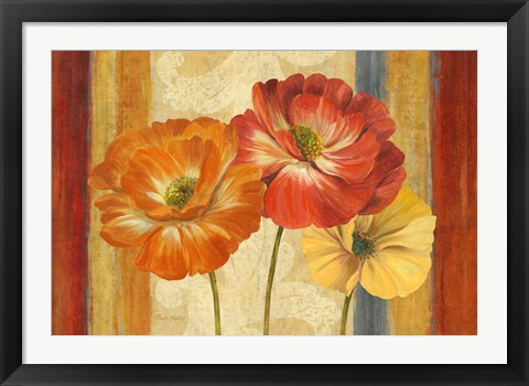 Framed Poppy Tapestry Stripes Landscape Print