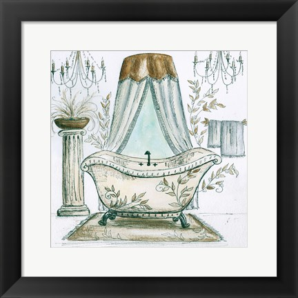 Framed French Bath Sketch I (tub) Print