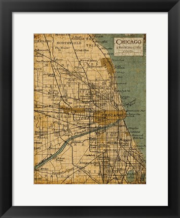 Framed Environs Chicago Sepia Print