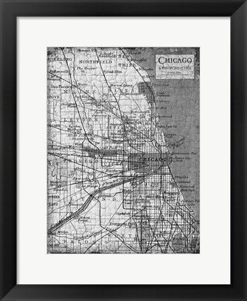 Framed Environs Chicago Gray Print