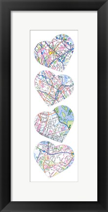 Framed Map To  Your Heart Print