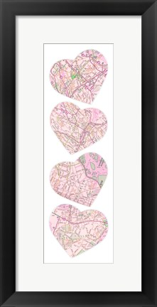 Framed Map To  Your Heart  4 Print