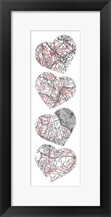 Framed Map To  Your Heart 5 Print