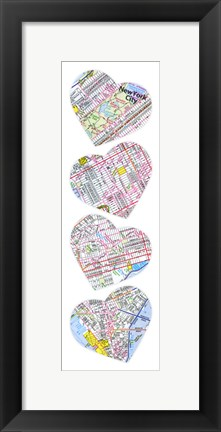Framed Map To Your Heart Manhattan Print