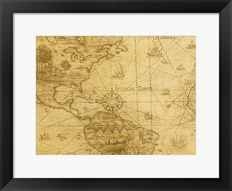 Framed Vintage Map Carribean Sea Print
