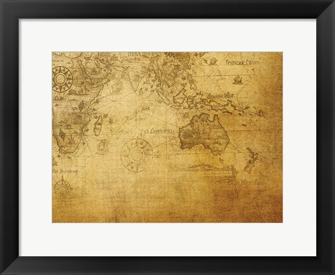 Framed Vintage Map Indian Ocean Print