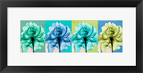 Framed Blue Green Flowers 1 Print