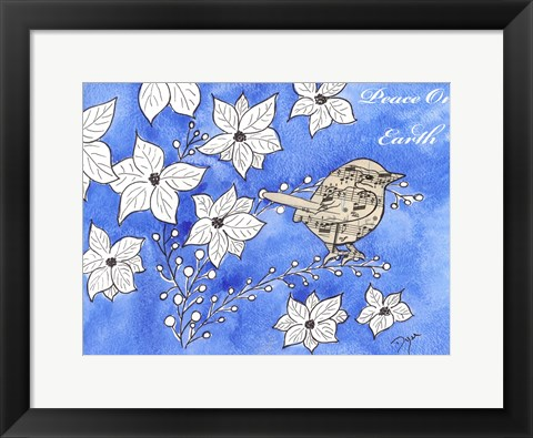 Framed Poinsettia Bird Song Print