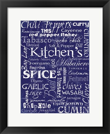 Framed Kitchen Spice Indigo Print