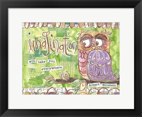 Framed Pastel Owl Family 3 Imagination Will Take You Everywhere Print