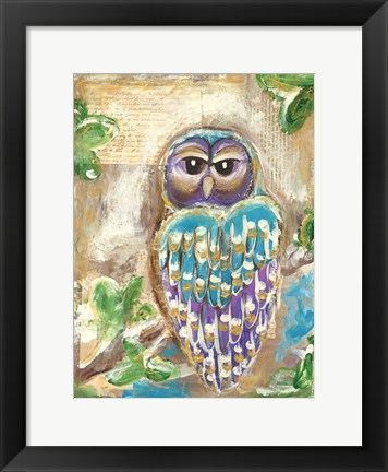 Framed Purple Blue and Gold Owls Print