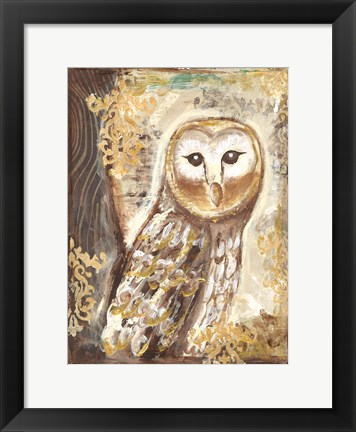 Framed Brown, Cream and Gold Owls 1 Print