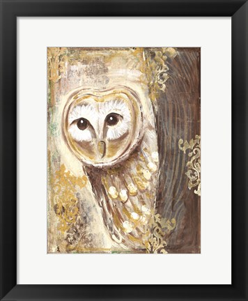 Framed Brown, Cream and Gold Owls 2 Print