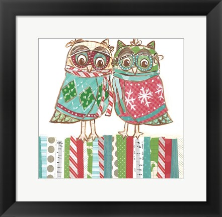 Framed Christmas Owls 1A Print
